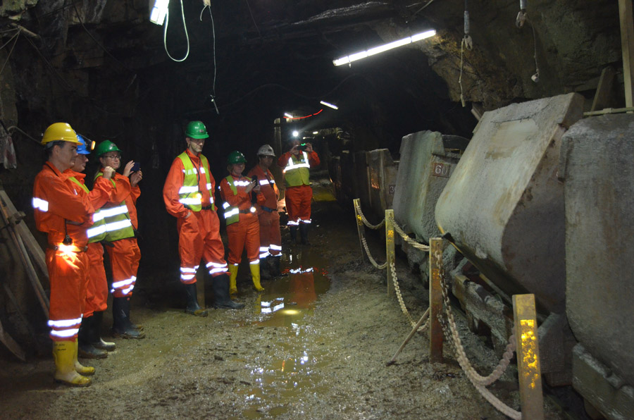OeKB and KFW bank visit to Panasqueira mine 23-25 October 2019 Dumping ore cars at the mine